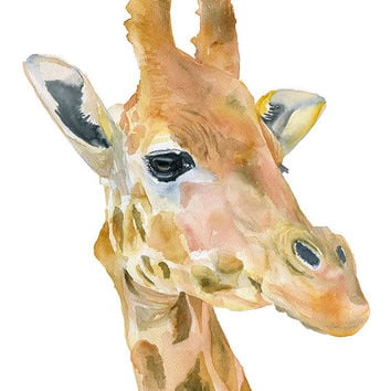 Giraffe Watercolor Painting - 8 x 10 - Giclee Print Reproduction - African Animal - Nursery Art