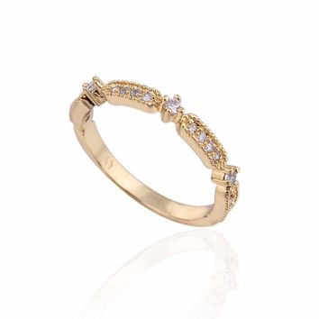 Authentic gold-color crystal  Ring for  Wedding  Party and Dating best jewelry gifts for women