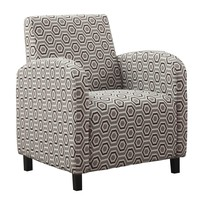 "Accent Chair - Grey / Earth Tone "" Hexagon "" Fabric"