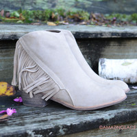 Southwest Bluffs Khaki Fringe Booties