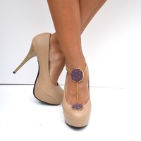 Purple gold shoe jewelry and anklet with gold by SweetStarJewelry