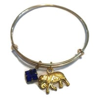 Elephant Charm Bracelet - Adjustable Elephant Bangle Bracelet - Alex and Ani Inspired - Gold Jewelry - Stacking Bangles