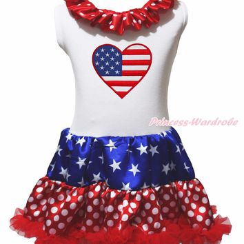 My 1st 4th July Dress USA Flag America Heart Shirt Stars Dot Red Blue Pettiskirt Girl Clothing 1-8y