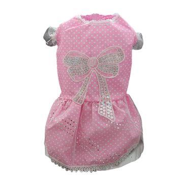 Dog Bow Tutu Lace Skirt Dress