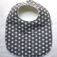 Baby Bib - Modern Baby Bib- Grey Plus Baby Bib - Hipster Baby Bib - Gray and White Plus -White Bubble Dot Minky Backing - Handmade Baby Gift