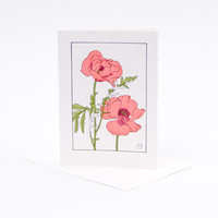 Antique Letterpress Card Poppy Flower