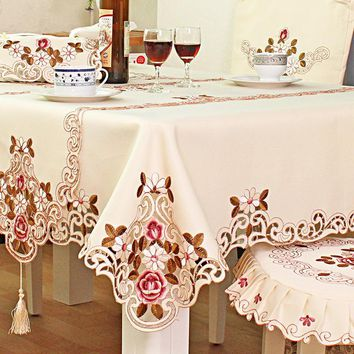 Polyester Tablecloth Furniture Dustproof Covers European Wedding Embroidered Vertical Floral Lace Edge Home Party Table Cloth
