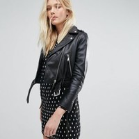 Lab Cropped Leather Jacket with Belt at asos.com