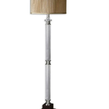 Champagne Floor Lamp - Glass Flute Columns With Brushed Aluminum Effect And Faux Crystal Accents