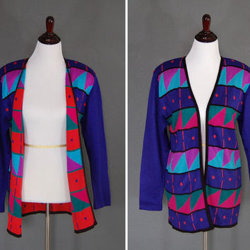 Vintage Cardigan / Sweater / Multicolored Colorful / Bright Bold Geometric Print / 1980's
