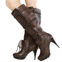 Bumper Danie13 Brown Gromit Strapped Knee High Boots and Womens Fashion Clothing  Shoes - Make Me Chic