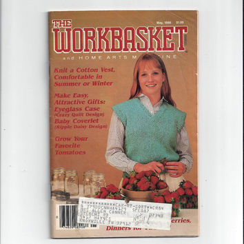 WorkBasket & Home Arts Magazine, May 1986, Home Knitting, Crochet, Sewing, Needle Work Book, Tatting, Recipes, Quilting, Vintage Craft Book