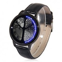 Fashion Tree Shaped Dial Blue Light Display Time LED Watch - Black China Wholesale - Everbuying.com