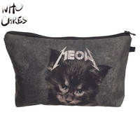 Who Cares Meow Cat 3D Printing Travel Women Maleta De Maquiagem Make Up Bag Party Cosmetics Bags Organizer Necessaire Makeup Bag