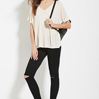 Contemporary V-Neck Cuffed Tee