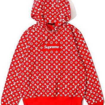LV Supreme Red Hoodie Fashion Print Women Men Casual Embroidered Tea Red Hoodie Top Sweater