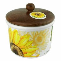 Spigarelli Designer Kitchen & Dining Sunflower Ceramic Cookie Jar w/Wooden Lid