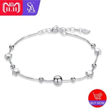 SA SILVERAGE 925 Sterling Silver Charms Bracelets Bangles for Women 925 Silver Star Ball Chain Link Bracelets Double 11
