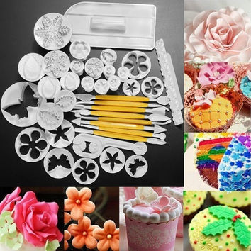 37Pcs Xmas Fondant Cake Cookie Sugarcraft Decorating Plunger Cutters Mould Set = 1945798404