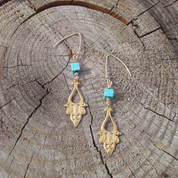 Gold + Turquoise Bohemian Charm Earrings // Bohemian Art Deco Earrings Earrings // Boho Jewelry - Bohemian Earrings - Minimalist Earrings