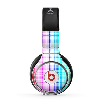 The Bright Rainbow Plaid Pattern Skin for the Beats by Dre Pro Headphones