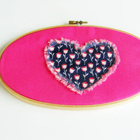 wood hoop with appliqued heart, hoop wall hanging, pink and blue wall decor for girl, baby nursery heart wall hanging