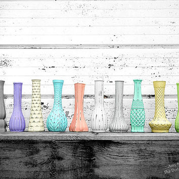 """You Choose The Color - One 9"""" Tall Painted Distressed Glass Bud Vase - Coral Mint Bright Trendy Pastel Colors Nine Inch Vintage Shabby Vase"""