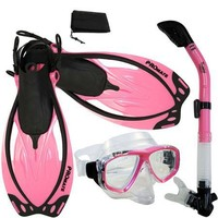 PROMATE Snorkeling Scuba Dive Mask Fins Dry Snorkel Gear Set, Pink, Small/Medium