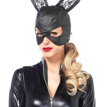 Leg Avenue Female Faux Leather Bunny Mask With Lace Ears And Lace Up Back 3745