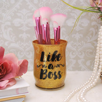 Makeup Organizer, Makeup Brush Holder, Brush Holder, Desk Organizer, Pen Holder, Pencil Holder - Gold Glitter/Like a Boss