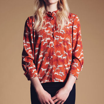 Orange Horse Print Button-Up Shirt