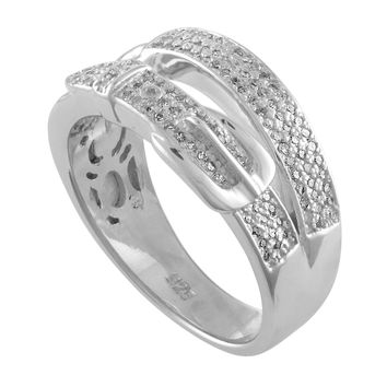 JewelMore 1/2 CT. T.W. Diamond Belt Buckle Ring in Sterling Silver (H-I / I1-I2)