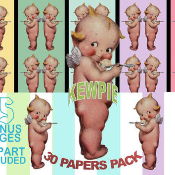 Kewpie Doll Angel Image, Kewpie Doll Cutout, Kewpie Digital Paper Pack, CLIPART INCLUDED,Kewpie Doll,Kewpie Doll Template,Kewpie Cutout