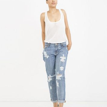 THE EX-BOYFRIEND DISTRESSED DENIM JEAN - MEDIUM WASH