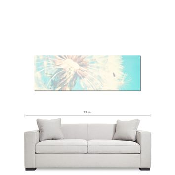 Dandelion Canvas - Baby Wall Art - Nursery Decor - Aqua Blue and White - Aqua Nursery Decor - Aqua Baby Art - Flower Photo - 20 x 60 Canvas