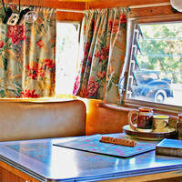 Welcome Photography Print Vintage Camper Shasta Trailer Kitchen Art Home Decor Travel Trailor Rustic Decor Retro Camping