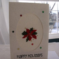 handmade cross stitched Christmas poinsettia card – Merry Christmas