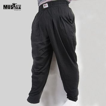 Men Baggy Pants For Bodybuilding Loose Workout Trousers Lycra Cotton High Elastic For Fitness Male Clothes Jogger