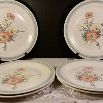 Country Glen Sunny Meadows Dinner Plates Set of 6 Japanese Stoneware Dinner Plates Floral Motif Gray/Blue Edge Orange Yellow Blue Flowers