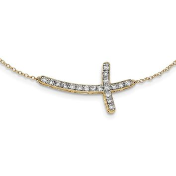 14K Yellow Gold Sideways Cross 18in Diamond Necklace