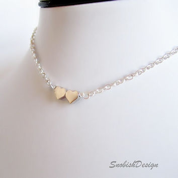 Silver Double Heart Necklace  by SnobishDesign