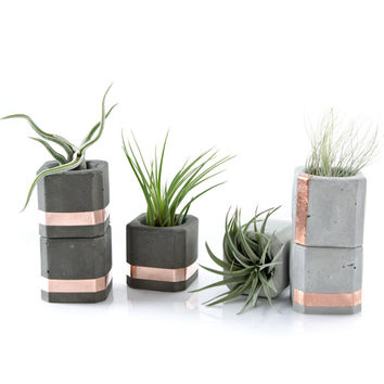 Concrete Copper Cube Planter Set of 3 Small Pots, Geometric Concrete Planter or organizer cups, modern decor, gift set, concrete decor