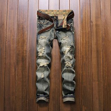 New Style 2016 fashion brand luxury quality Men casual denim jeans trousers Straight blue pop   slim Vintage jeans