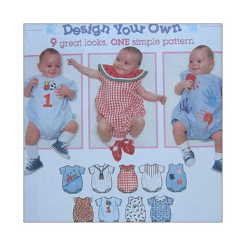 Uncut Sewing  Pattern Design Your Own Baby Romper Size NB S M L Simplicity 7022 9 Looks