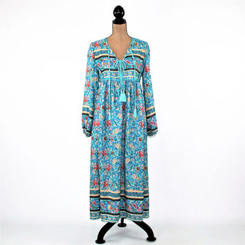 Boho Maxi Dress Long Sleeve Hippie Clothes Bohemian Floral Dress Loose Fitting Blue Floral Print Boho Clothing Hippie Dress Womens Clothing