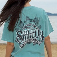 Southern Vine Originals Shine On Mason Jar Beware of the Moon Moonshine Unisex Seafoam Bright Pocket T Shirt