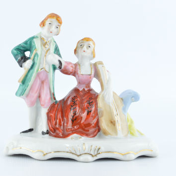 Vintage 1950's Victorian Couple Porcelain Figurine Occupied Japan