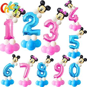 Baby Shower Pink & Blue 32 inch Number Balloons 1 2 3 year Birthday Minnie mickey Party Decor Latex balloon Stand Upright globos