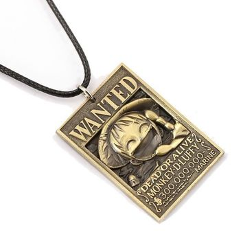 One Piece Wanted Poster Metal Alloy Necklace