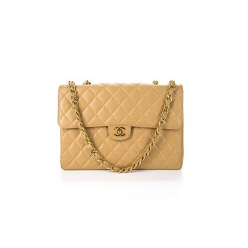 Chanel Pre-Owned - Chanel Vintage Beige Caviar Jumbo Single Flap Bag | Bluefly.Com